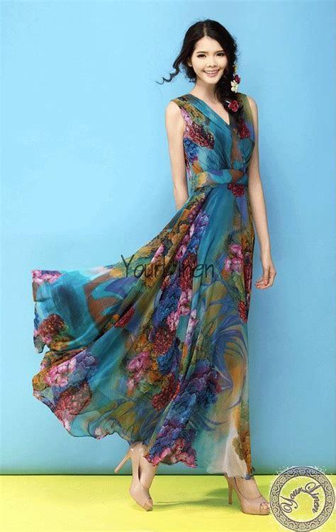 Blue Floral Bohemian A line Dress Full Pleated Skirt Beach