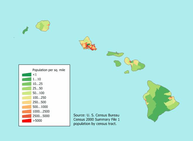 Hawaiian population densities