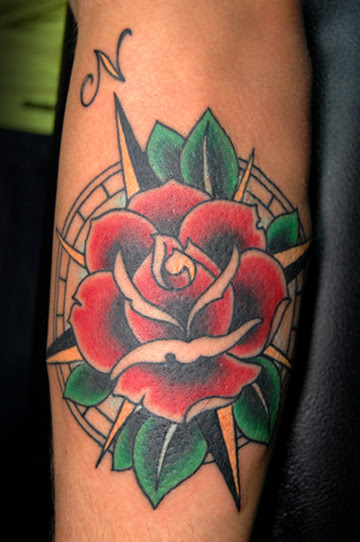 Traditional Compass And Red Rose Tattoo On Arm