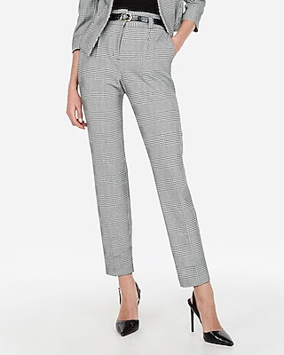 Online grad high waisted plaid pleated ankle pant york