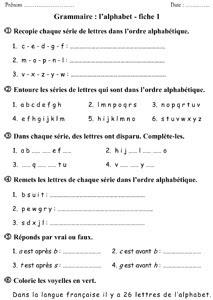 CE1 - l'ordre alphabétique - exercices