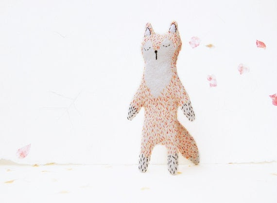 Sleepy Fox Softie for Baby - Mr. Fox Plushie Stuffed Toy - Upcycled Woodland Animal Critter