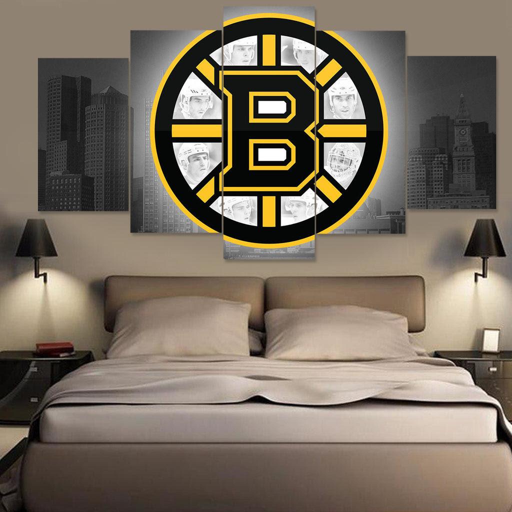 BOSTON BRUINS LOGO On Grey 5 PANEL CANVAS CanvasTopia