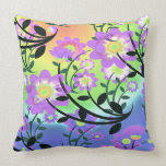 Pretty Abstract Multicolored Flowers Purple Throw Pillows