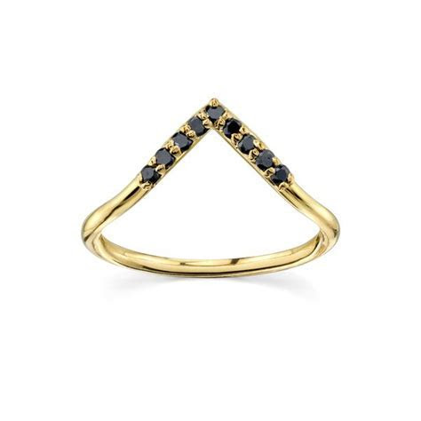 Black Diamond Triangle Nesting Ring   Edgy Non Wedding