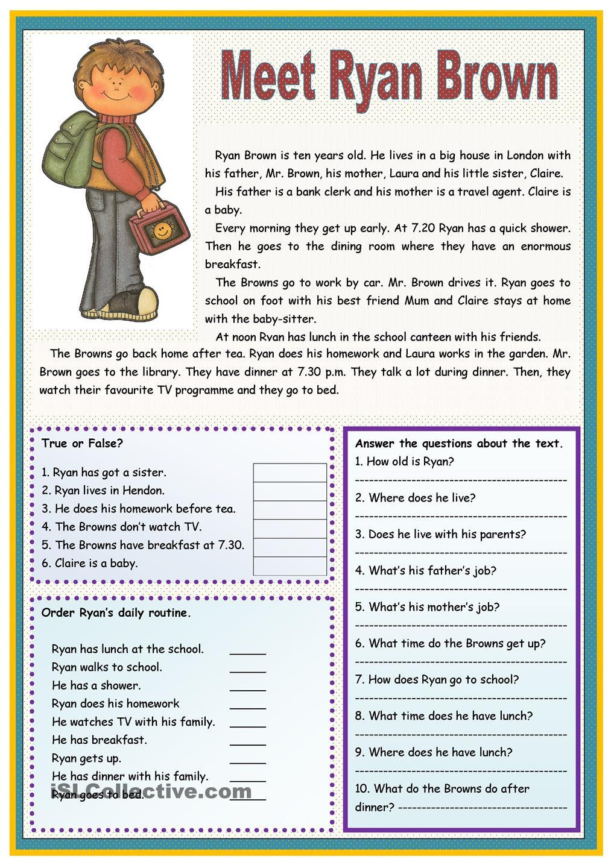 Esl Reading Prehension Worksheets For Adults
