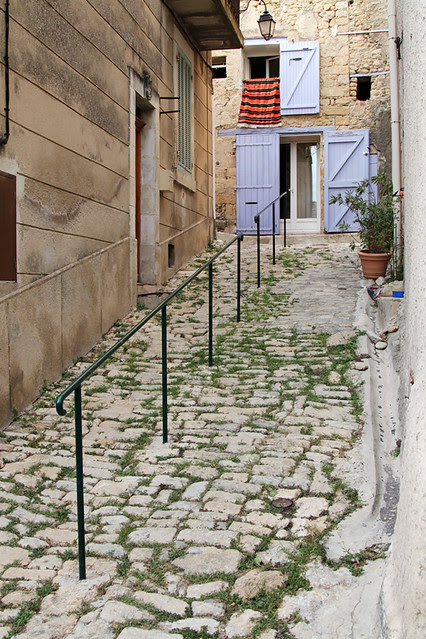 Cobblestone street in the French village of Ansouis, France