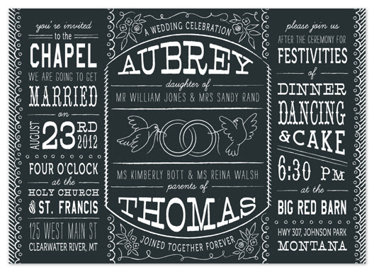 wedding invitations - Bistro Board
