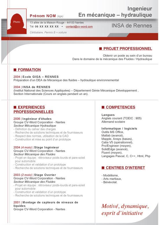 Exemple Cv Ingénieur Informatique