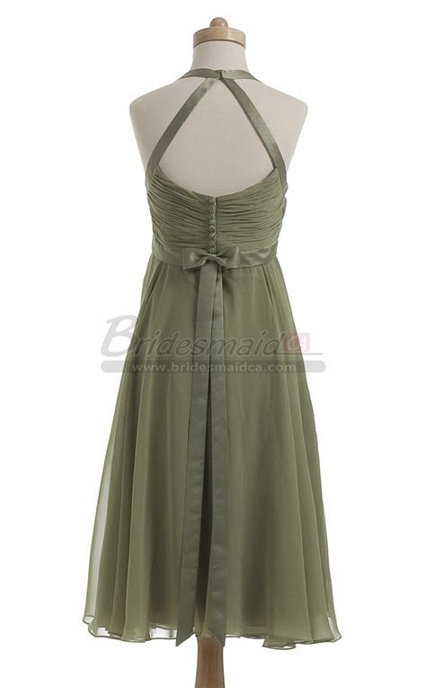 Halter Short Empire Waist Chiffon Clover Bridesmaid Dress