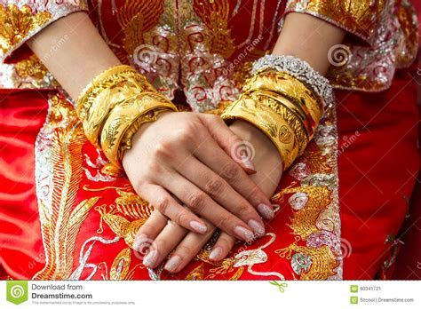 Chinese Wedding Ceremony With Gold Bangles Stock Photo