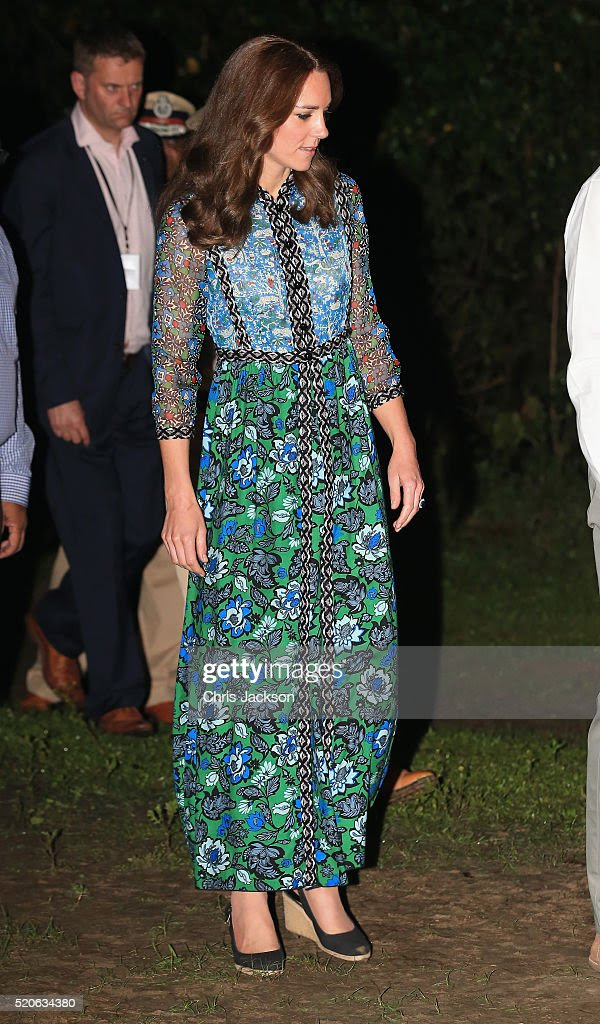 Catherine, Duchess of Cambridge watches dancing by the fireside during a Bihu Festival Celebrationat Diphlu River Lodge on day 3 of the royal visit to India and Bhutan on April 12, 2016 in Kaziranga, India. The Duke and Duchess of Cambridge are on a week-long tour of India and Bhutan taking in Mumbai, Delhi, Assam, Bhutan and Agra.