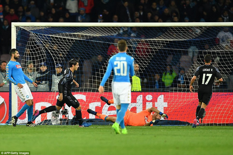 Former Juventus striker Morata followed in after Ronaldo's late shot was pushed out into the area by Napoli keeper Pepe Reina