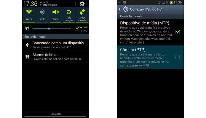 Mantenha o MTP e o PTP de seu gadget ativados (Foto: Reprodução/Daniel Ribeiro)