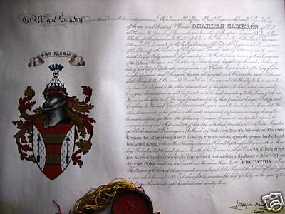 Grant of arms to Charles Cameron