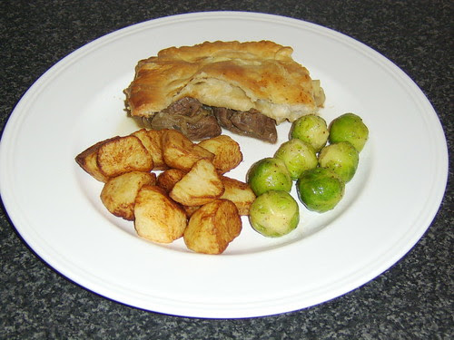 Scottish Game Pie with Roasted Potatoes and Brussels Sprouts