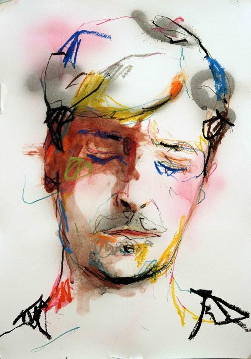 louros:  Autoportrait 12  Mixed media on paper A3Lou Ros 2012