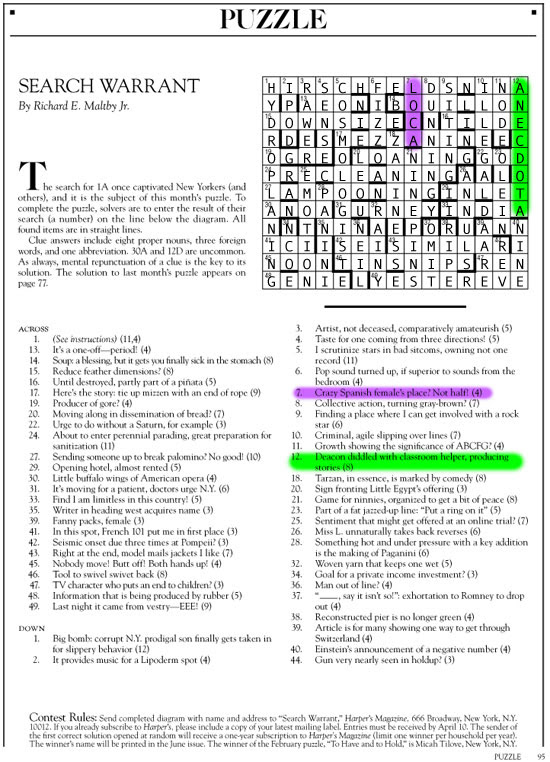April 2015 | Search Warrant | Harper's Cryptic puzzle solution