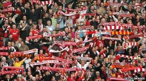 Liverpool fans in the Kop