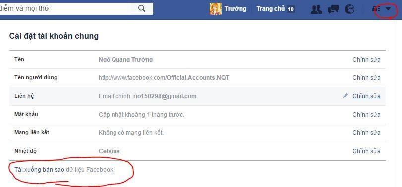 Sao lưu dữ liệu facebook vào máy tính nhanh nhất