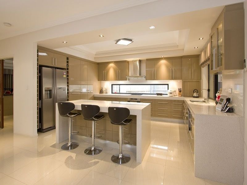 Modern open plan kitchen design using polished concrete - Kitchen ...