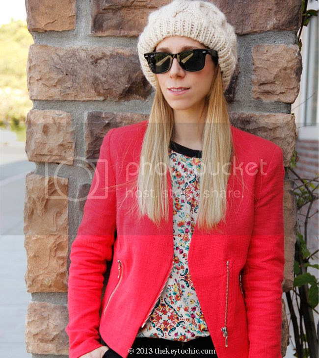 ivory beret, batik print top, Target Mossimo red tweed blazer