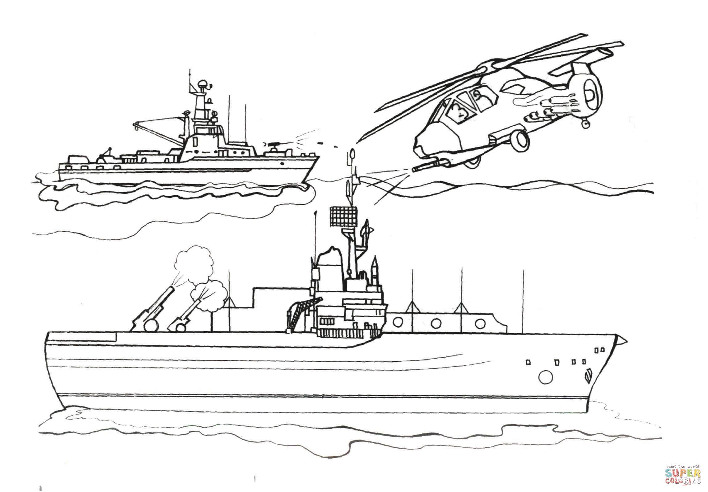 Klick das Bild Hubschrauber greift das erste Schlachtschiff an