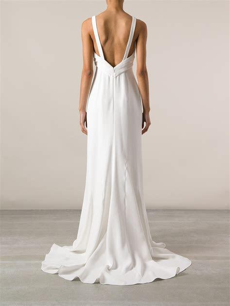 saint laurent floating evening dress  white lyst