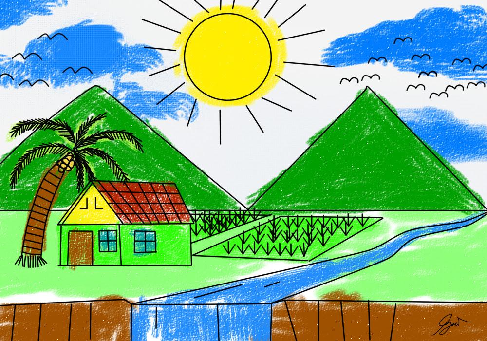 Gambar Pemandangan Rumah Anak Sd Gambar Om