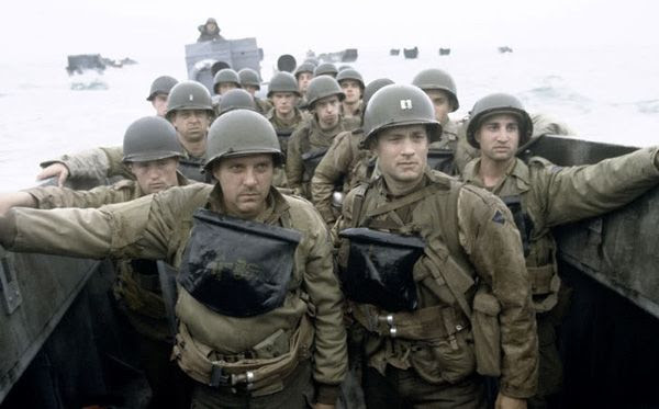 Capt. John Miller (Tom Hanks), Sgt. Mike Horvath (Tom Sizemore) and their fellow soldiers prepare to storm a beach at Normandy in the 1998 Oscar-nominated film, SAVING PRIVATE RYAN.