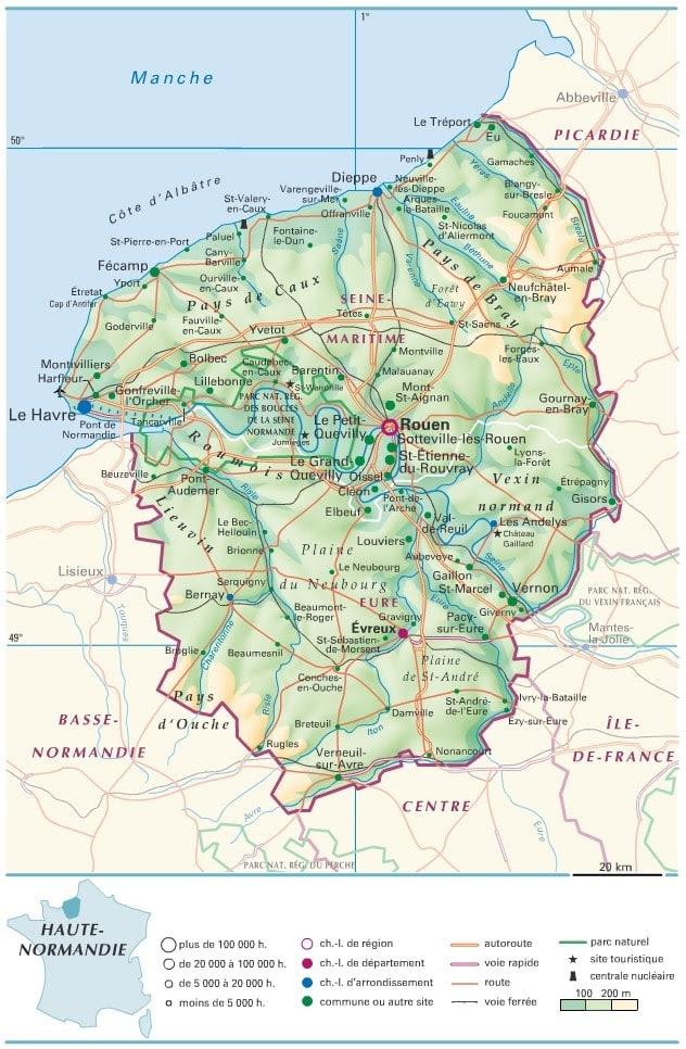 carte de haute normandie Usa Map Route 70