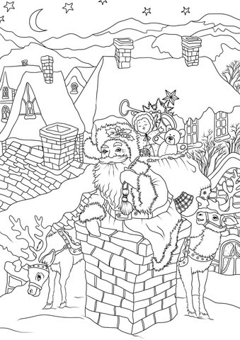 santa claus with presents is entering the house via the chimney coloring page  free printable