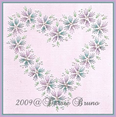 Floral Heart Wedding Valentine Paper Embroidery Pattern