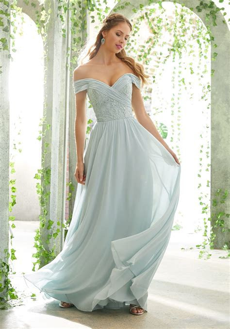 Romantic Bridesmaid Dress with Embroidered, Off The