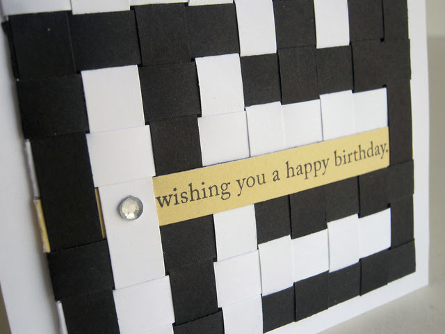 Woven Paper Black and White Happy Birthday Card