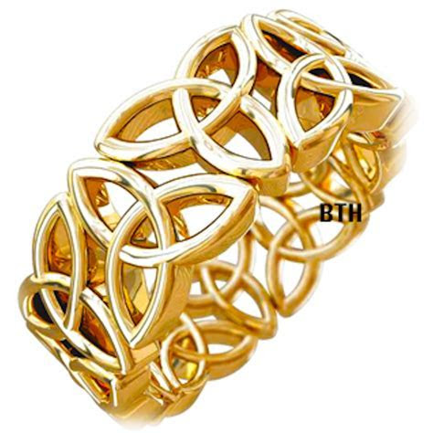 Gold Tone Trinity Knot Design Celtic Stainless Steel Mens