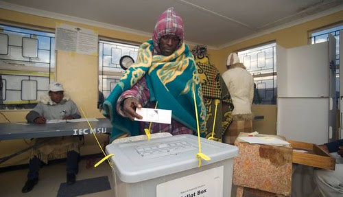 Voters casting their ballot in the Southern African Kingdom of Lesotho. The country's race has pitted three rivals against each other. by Pan-African News Wire File Photos