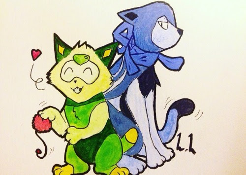 Peridot cat and Lapis Lazuli cat :3