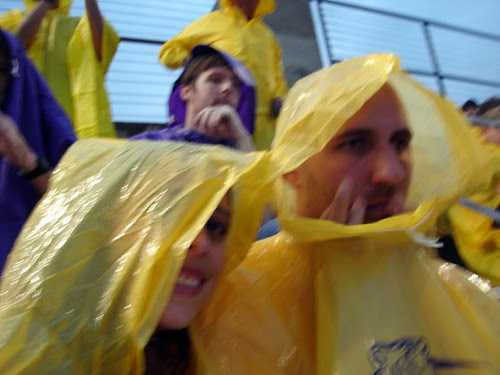 Hiding from the rain in our ponchos