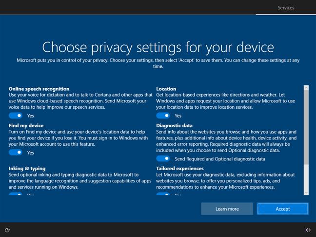Elegir la configuración de privacidad para Windows 10