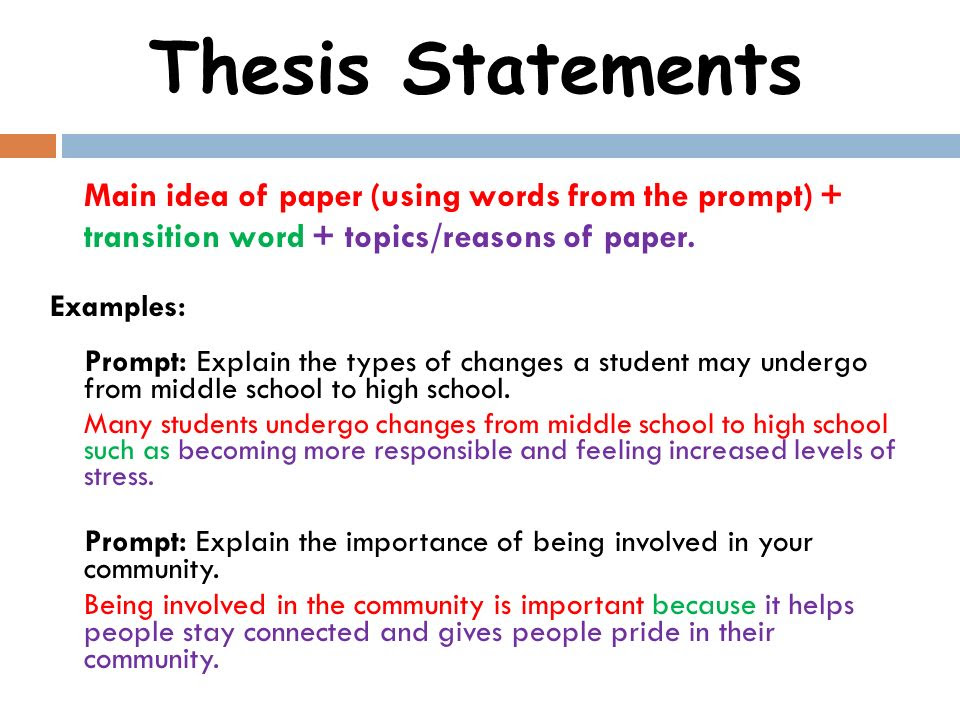 Thesis Statement Transition Words - Thesis Title Ideas For College