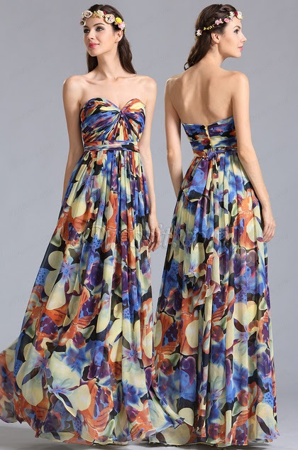 strapless Convertible A Line Printed Dress