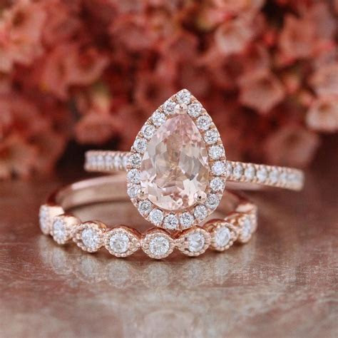 Pear Morganite Engagement Ring and Milgrain Diamond