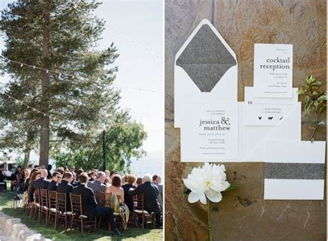 Lakefront wedding invitation idea from this real Lake