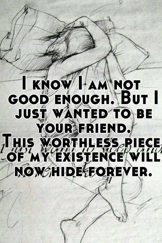 I Know I Am Not Good Enough But I Just Wanted To Be Your Friend