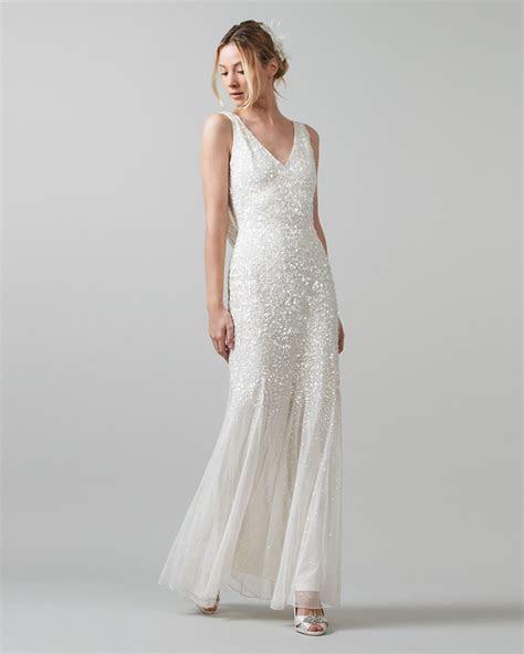 Phase Eight Talunia Sequin Full Length Dress Neutral