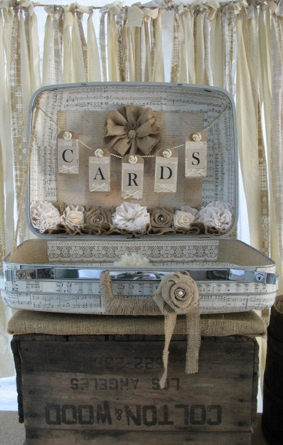 Vintage Suitcase For Wedding Card Holder for a Rustic Style Wedding