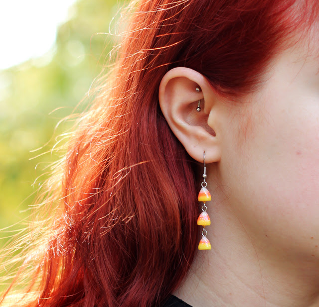 Candy Corn Earrings & Rook Piercing