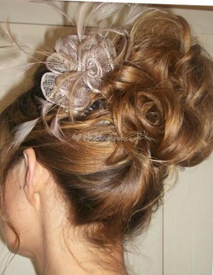 Updo  with fascinator hair piece  Peinados y cortes