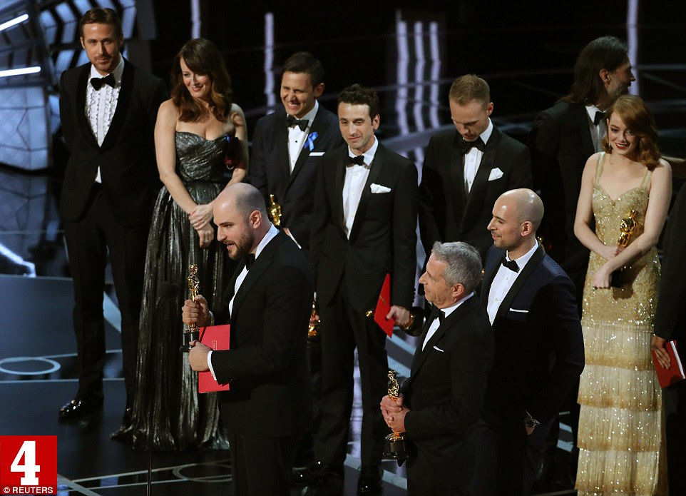 La La Land producer Jordan Horowitz accepts the award and and thanks his cast and crew after being announced Best Picture